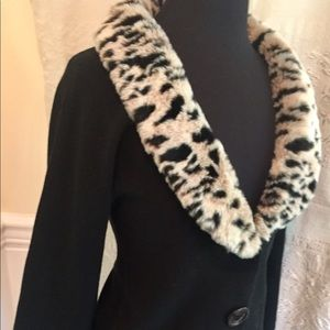 BLACK with Leopard Fur Removable Collar Cardigan